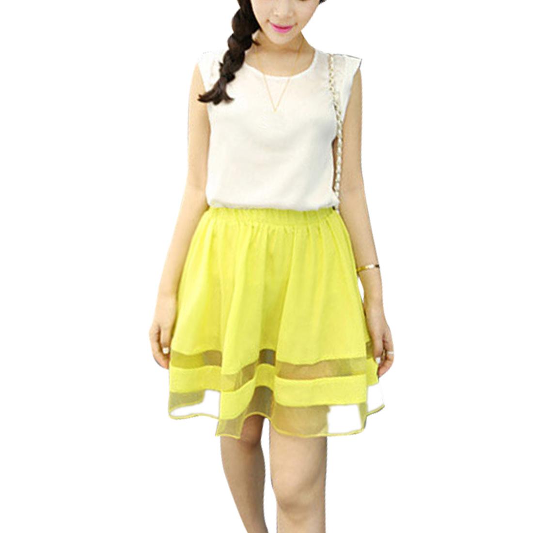 Ladies Elastic Waist Panel Chiffon Skirts Fluorescent Yellow XS