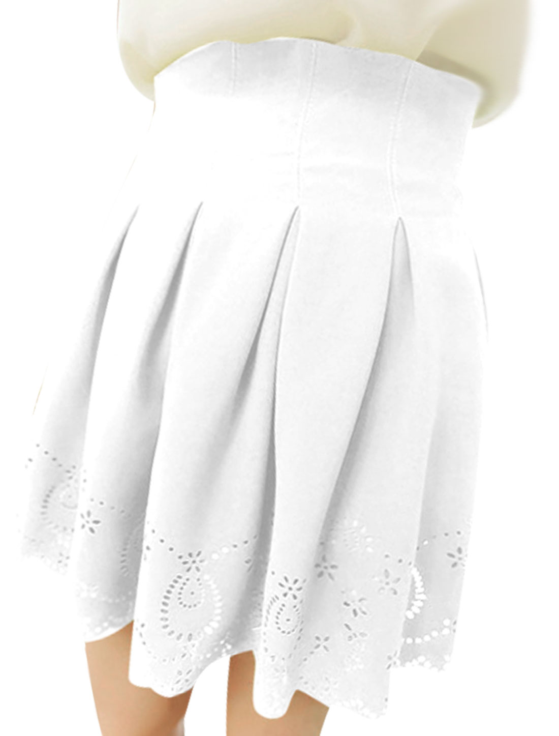 Ladies Solid Color Hollow Out Details Chic Skirts White XS