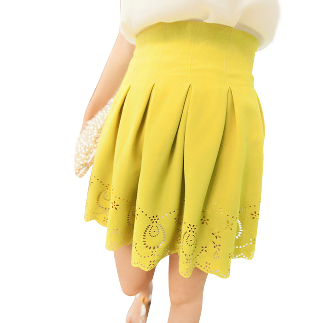 Ladies Thigh High Concealed Zipper Casual Mini Skirt Yellow XS