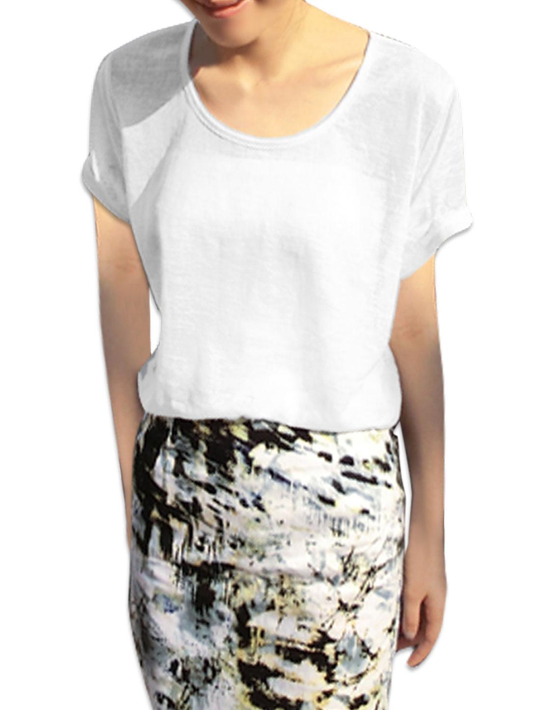 Women Strapless Plain Soft Tube Top w Pullover Semi Sheer T-Shirt XS White