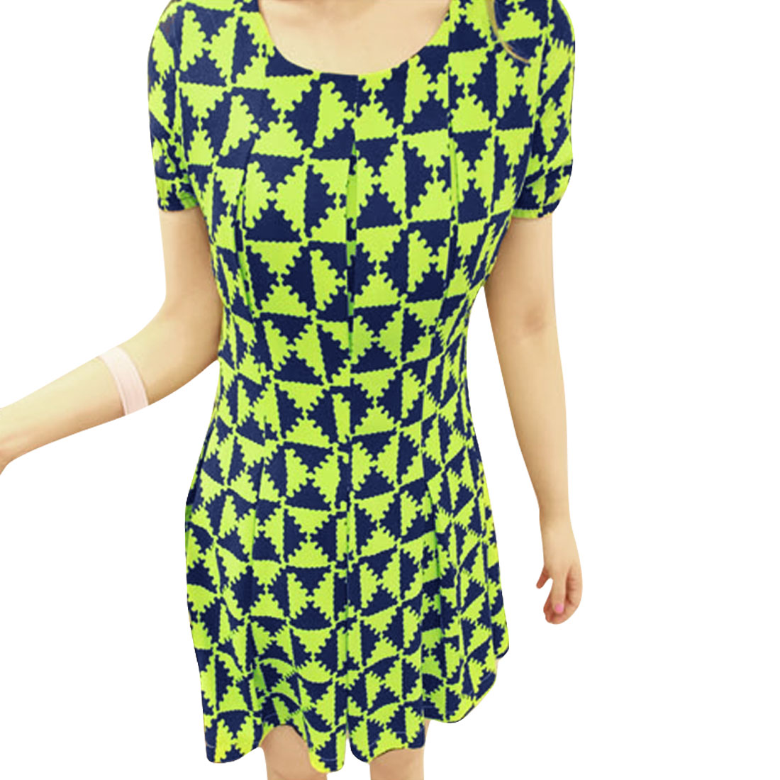 Women Round Neck Short Sleeve Slim Fit Chiffon Dress Blue Lime S