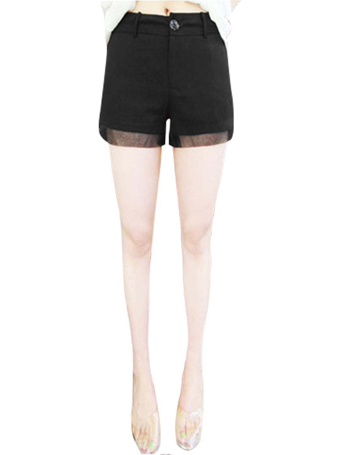 Ladies Pockets Mesh Panel Zip Fly High Waist Shorts Black XS