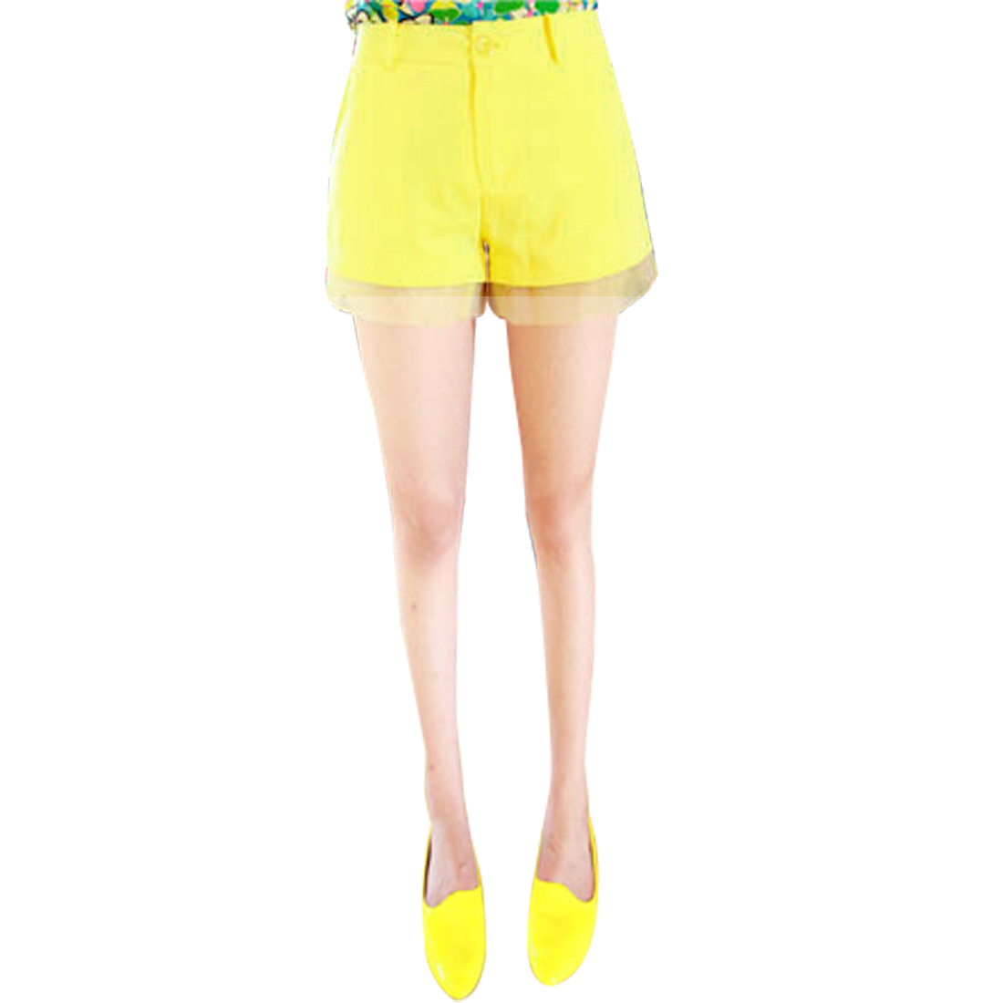 Ladies Pockets Mesh Panel Zip Fly High Waist Shorts Yellow XS
