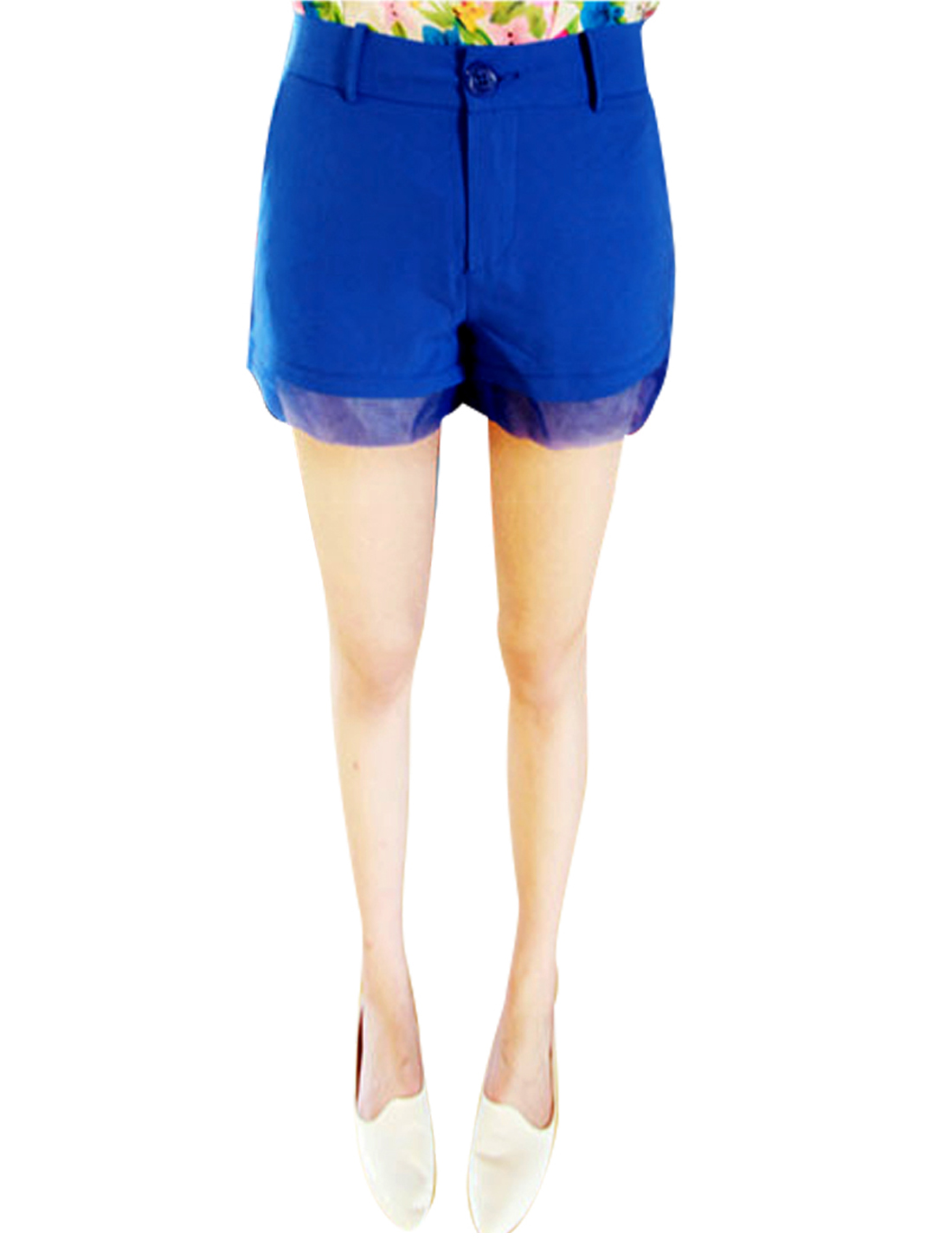 Ladies Pockets Mesh Panel Zip Fly High Waist Shorts Blue XS