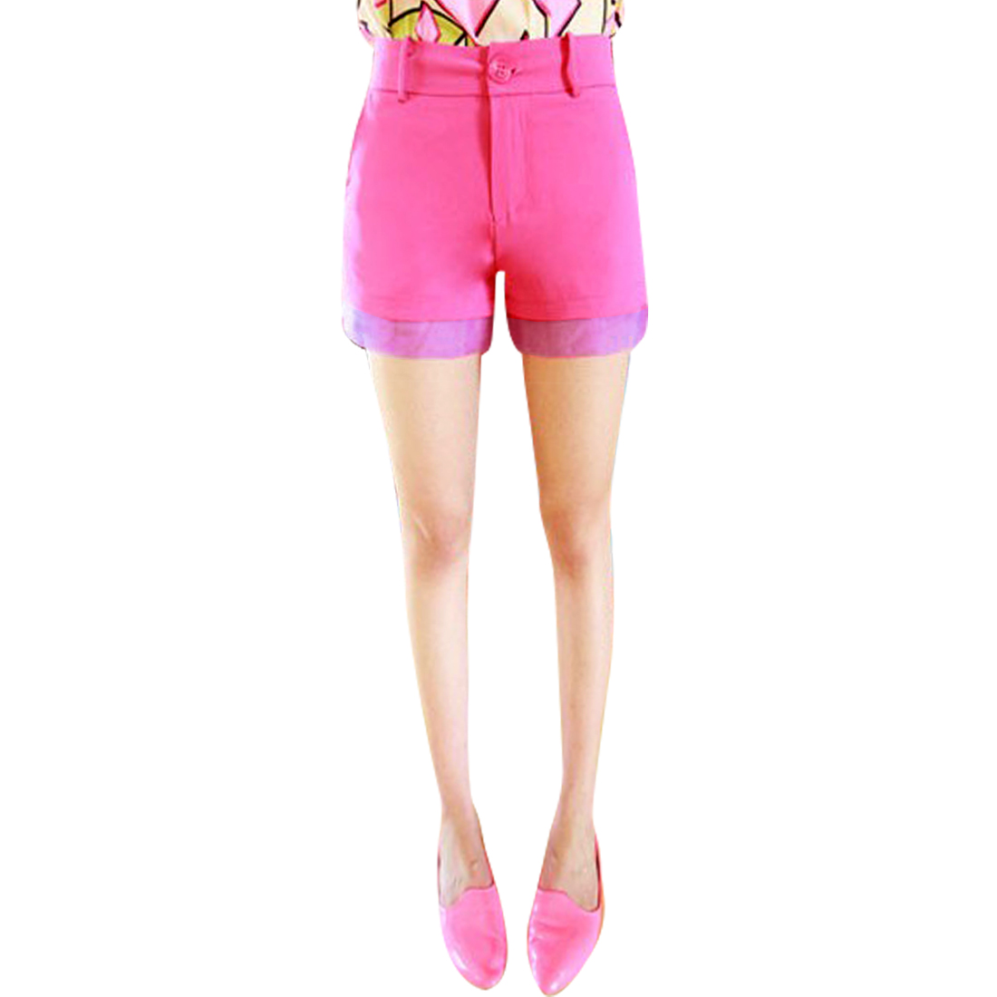 Ladies Zipper Front Solid Color Hot Chic Mini Short Pants Pink XS