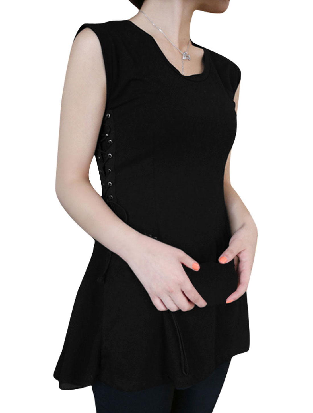 Women Two Detachable Straps Round Neck Sleeveless Style Tunic Shirt Black S
