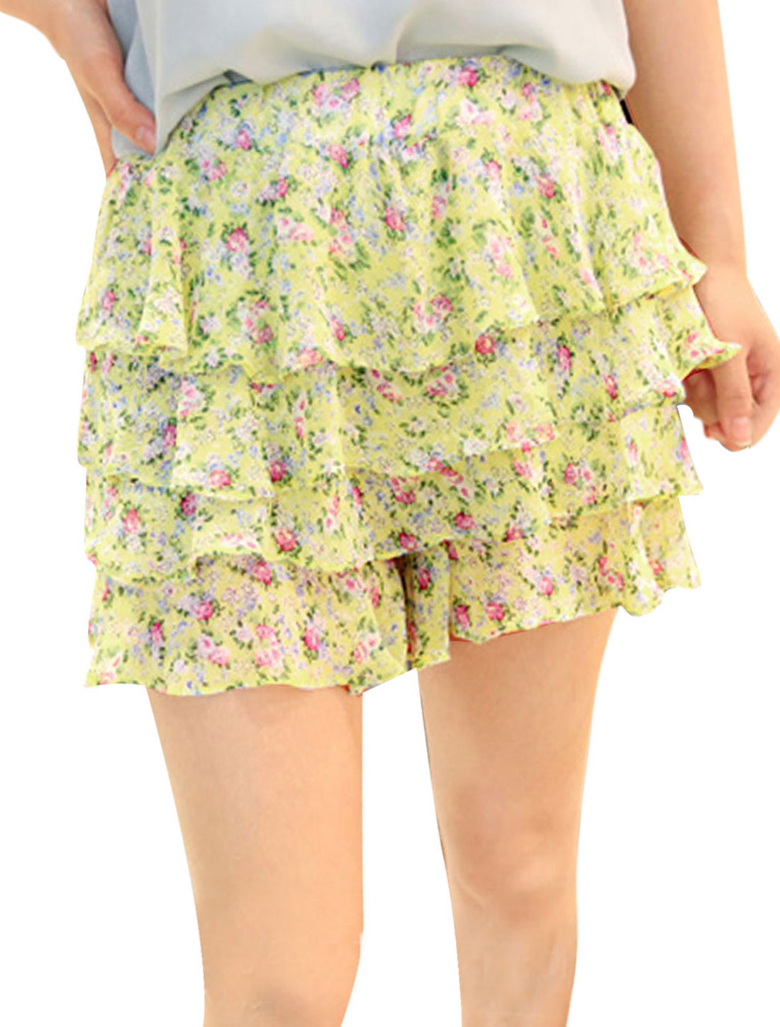 Lady Yellow Tiered Mini Split Floral Design Leisure Devided Skirt XS