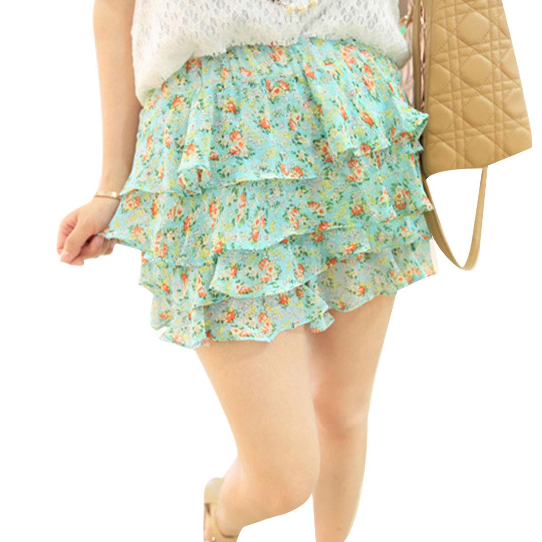 Lady Green Flower Design Elastic Waist Tiered Devided Skirt XS