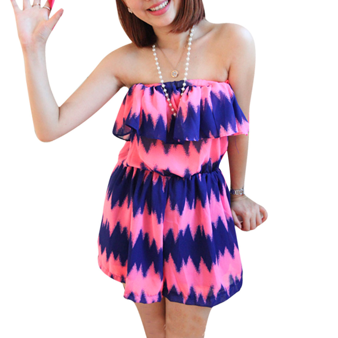 Ladies Slim Fit Strapless Style Summer Fashion Romper Blue Fuchsia XS