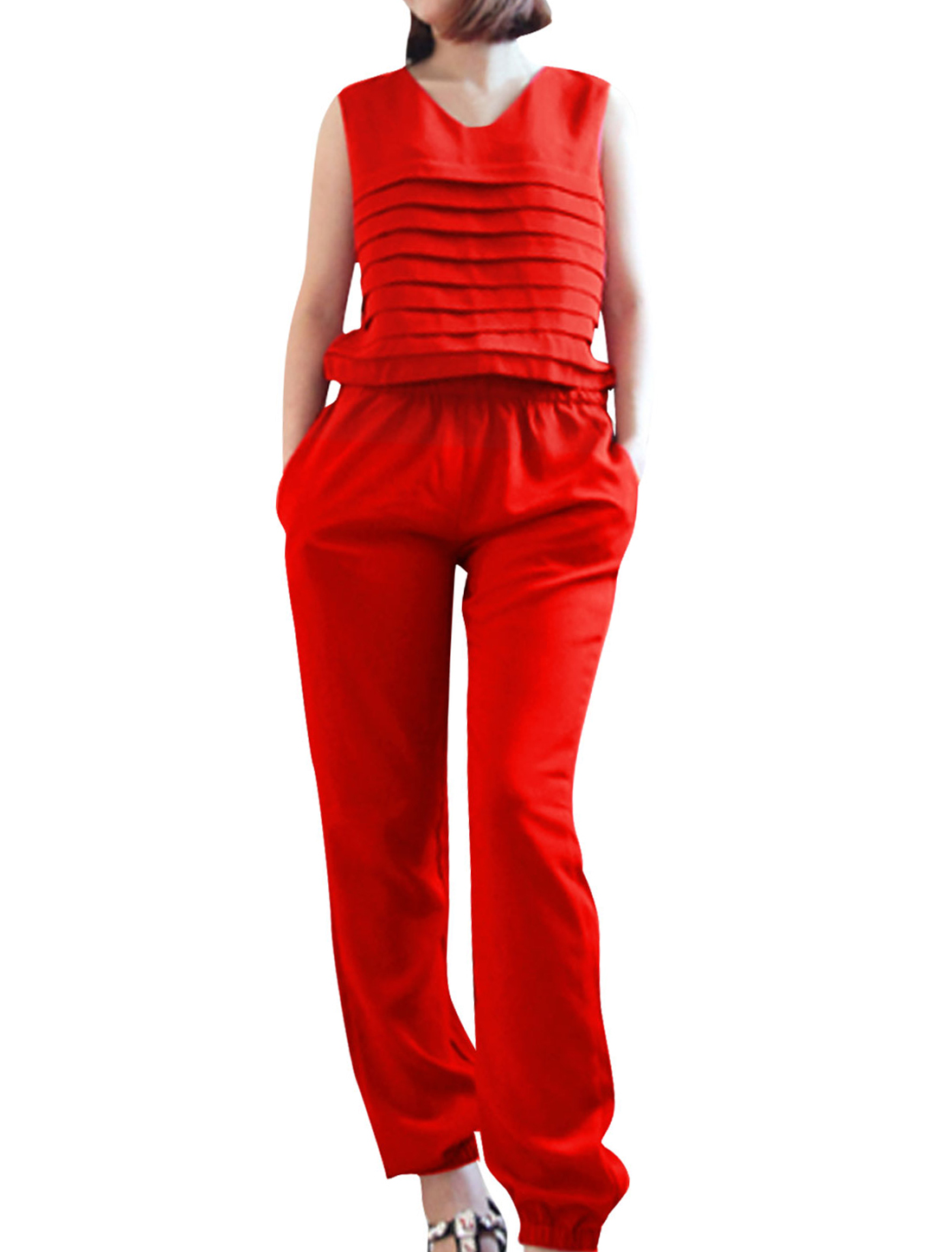 Woman Fashion Red Color Elastic Waist Tiered Front Leisure Jumpsuit S