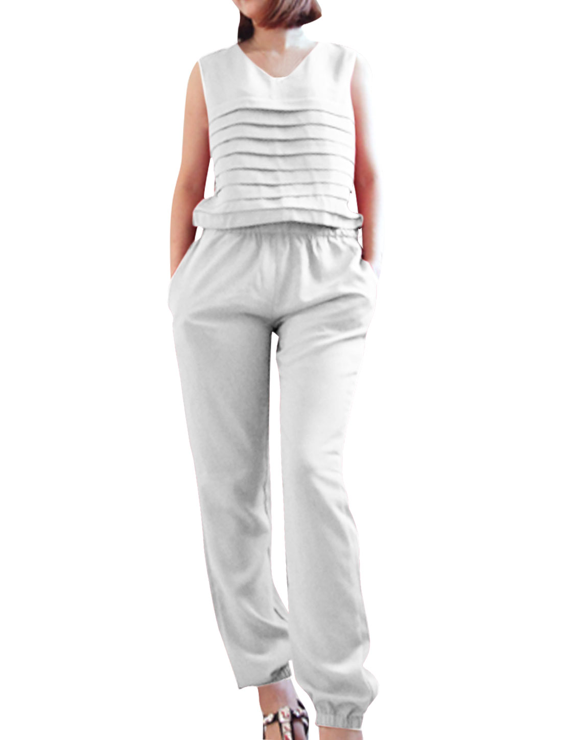 Ladies Round Neck Sleeveless Tiered Chiffon Front White Casual Jumpsuit S