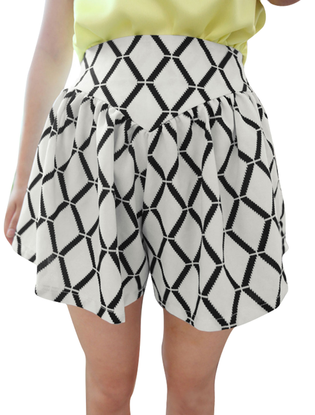 Ladies Two Tone Zip Fly Argyle Pattern Chiffon Summer Shorts S White Black