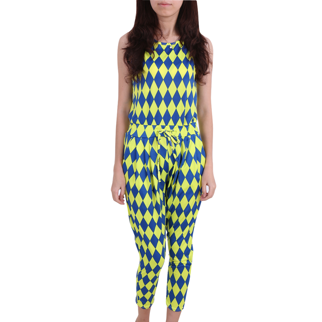 Women Argyle Pattern Round Neck Sleeveless Drawstring Jumpsuit Blue Lime S