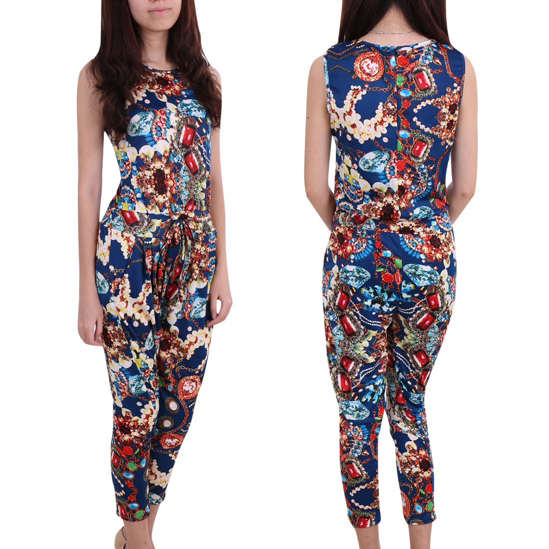 Women Novelty Pattern Round Neck Sleeveless Style Jumpsuit Navy Blue S