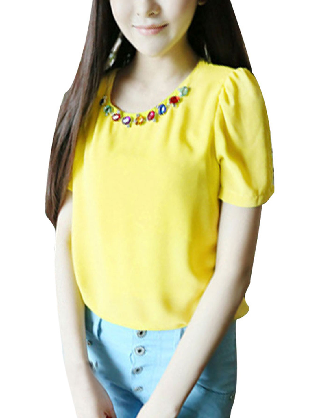 Woman Chic Round Neck Short Sleeve Rhinestones Chain Decor Yellow Blouse XS