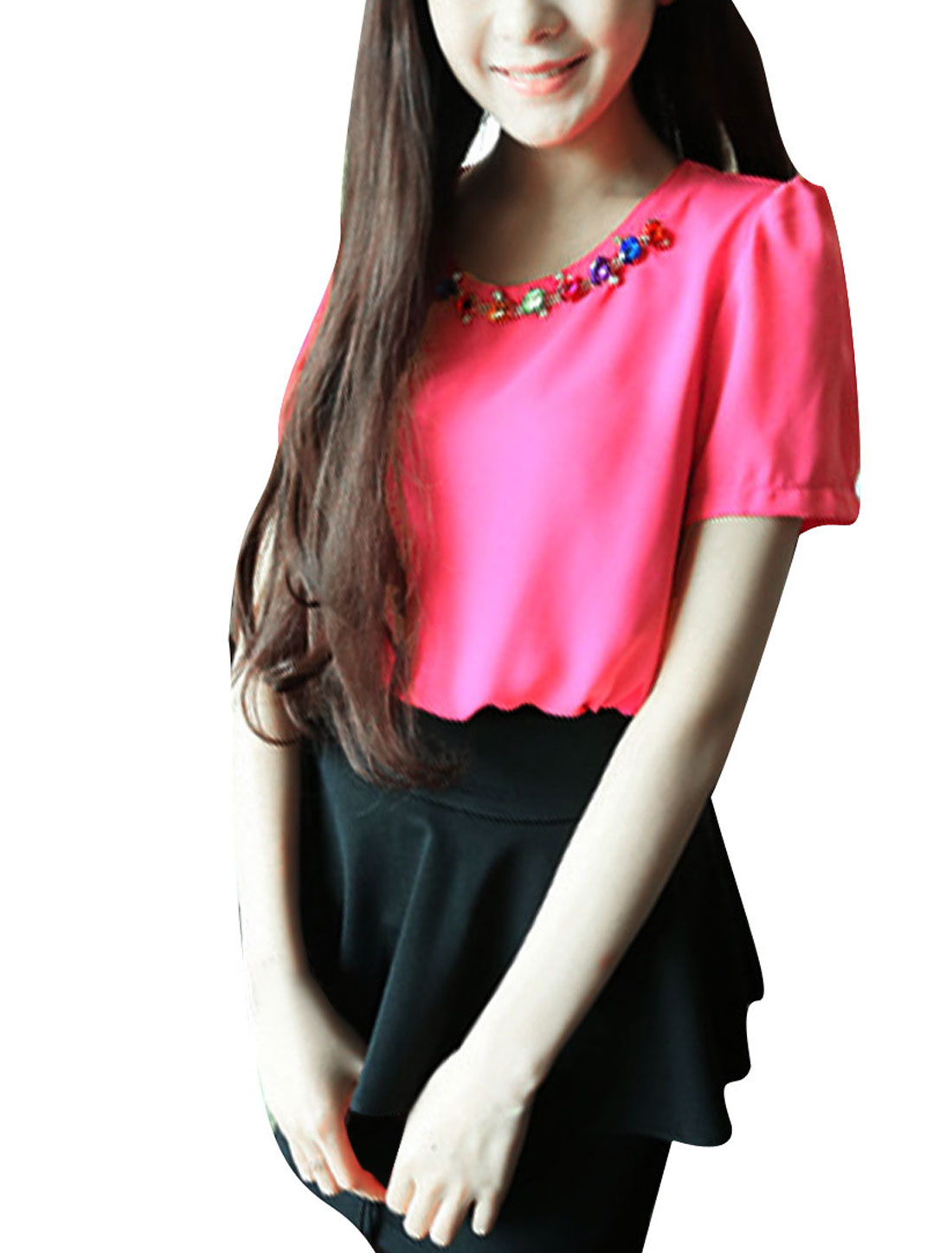 Ladies New Fashion Plastic Crystal Chain Decor Fuchsia Chiffon Blouse XS