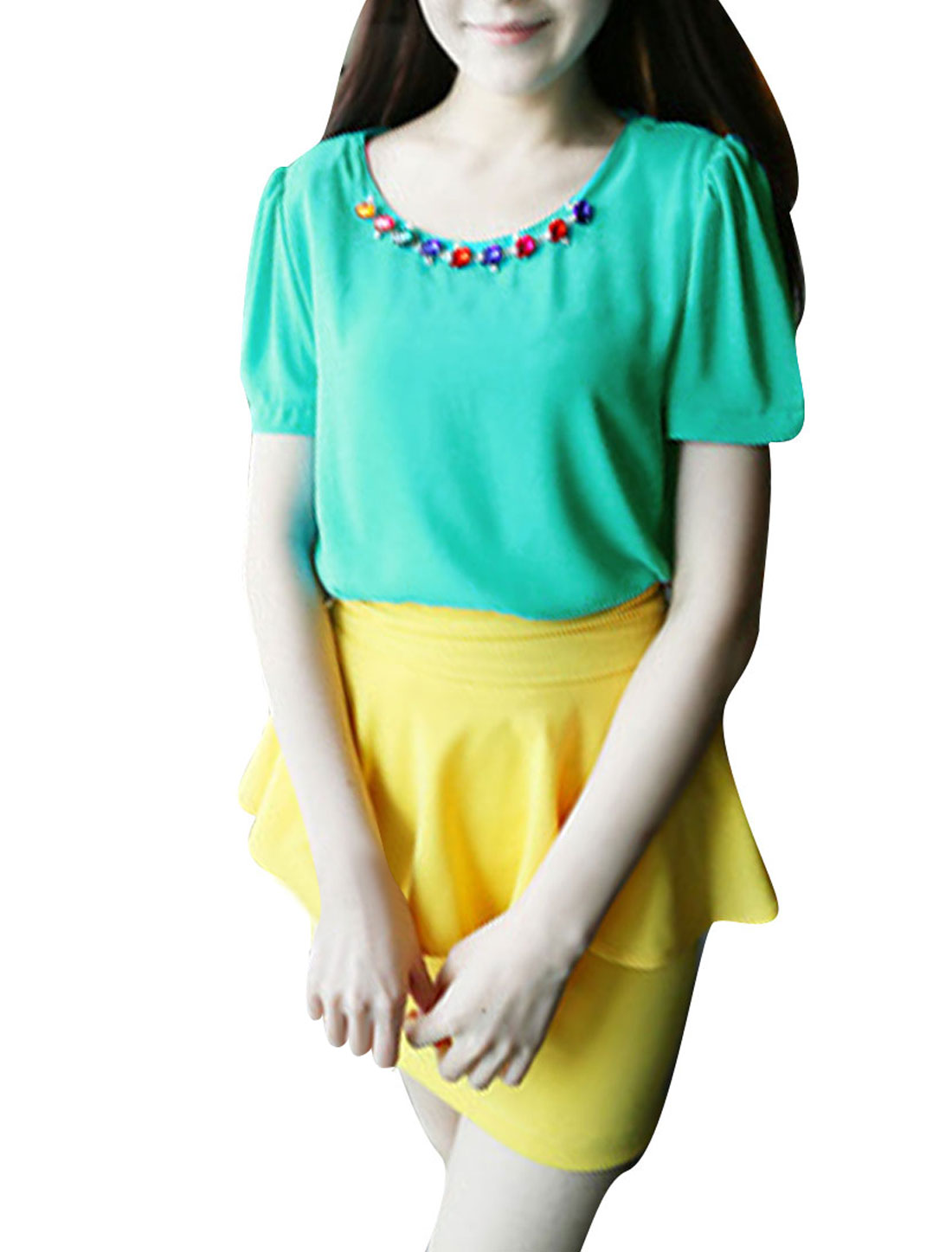 Woman Round Neck Short Sleeve Plastic Crystal Chain Decor Sea Green Blouse XS