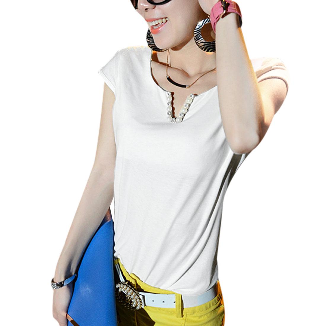 Lady Cap Sleeve Semi-sheer Mesh Splice White Blouse XS