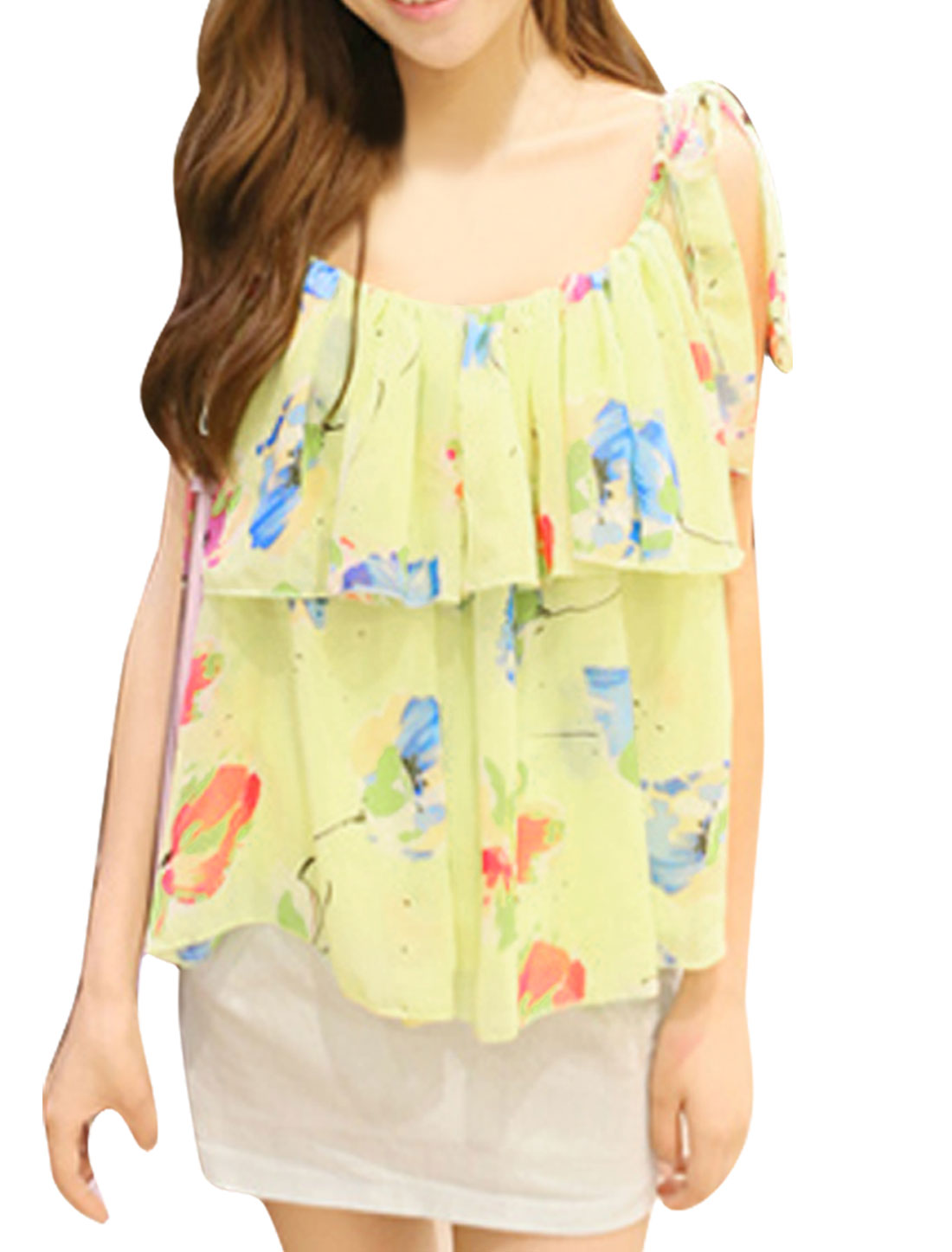 Women Spaghetti Strap Floral Pattern Off Shoulder Colorful Blouse Yellow L