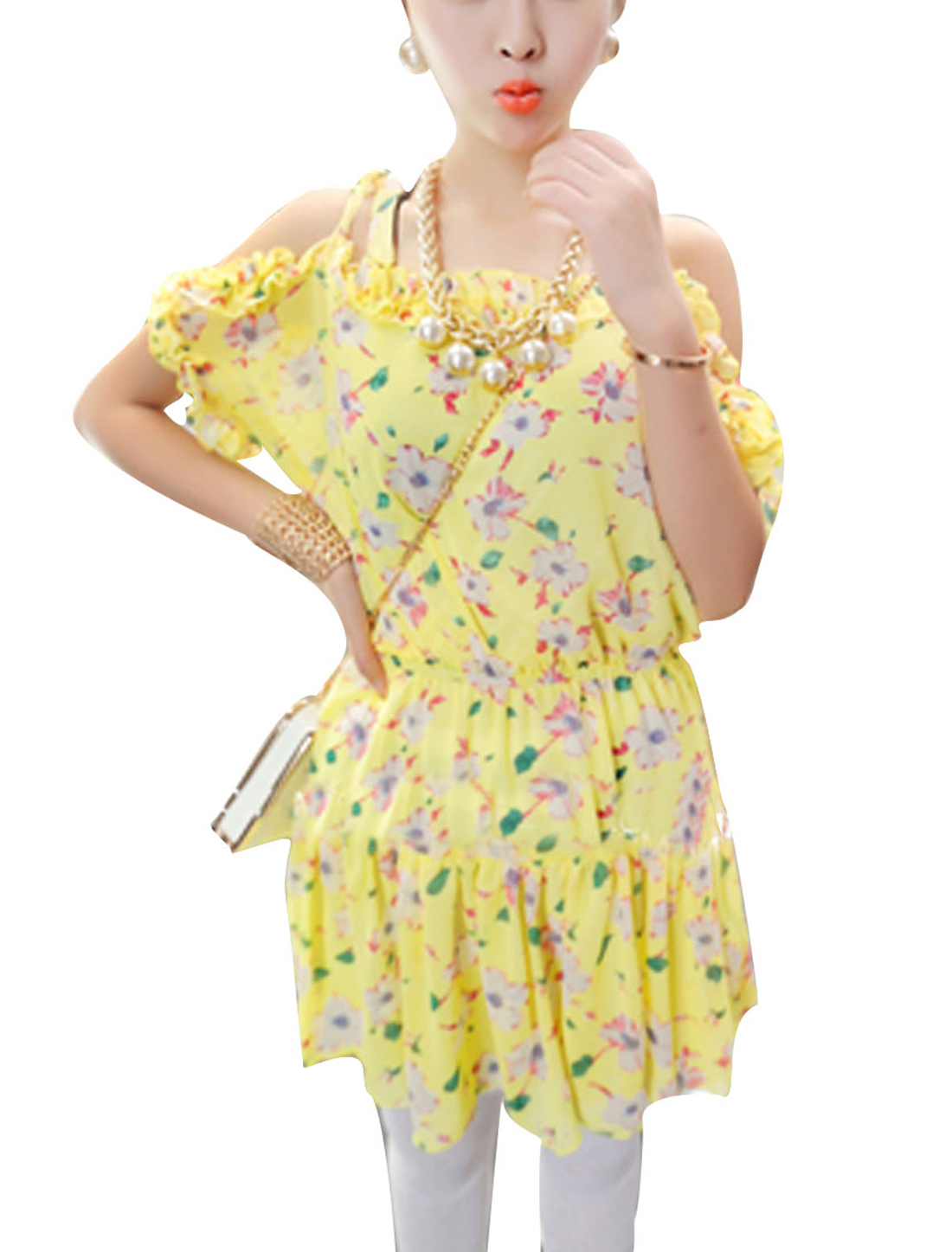 Lady Pullover Semi-sheer Ruffled Neckline Flower Pattern Light Yellow Pleated Dress XS