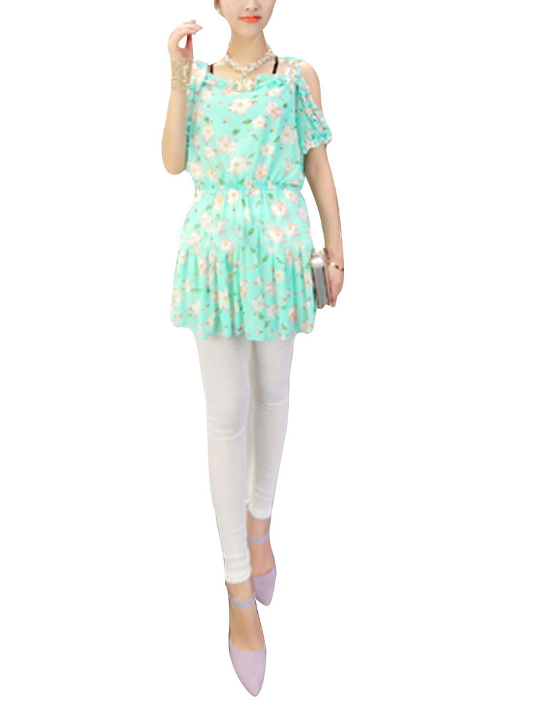 Lady Ruffled Neckline Decor Floral Prints Split Sleeve Pleated Dress Mint Green XS