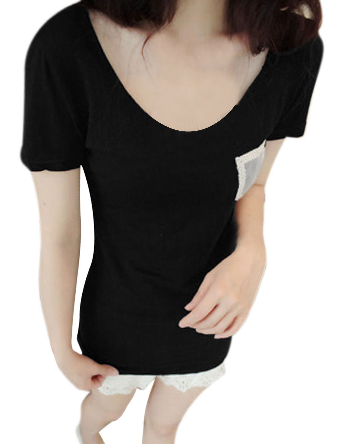 Lady Black Short Sleeve Crochet Pullover Chest Pocket Tee Shirt XS