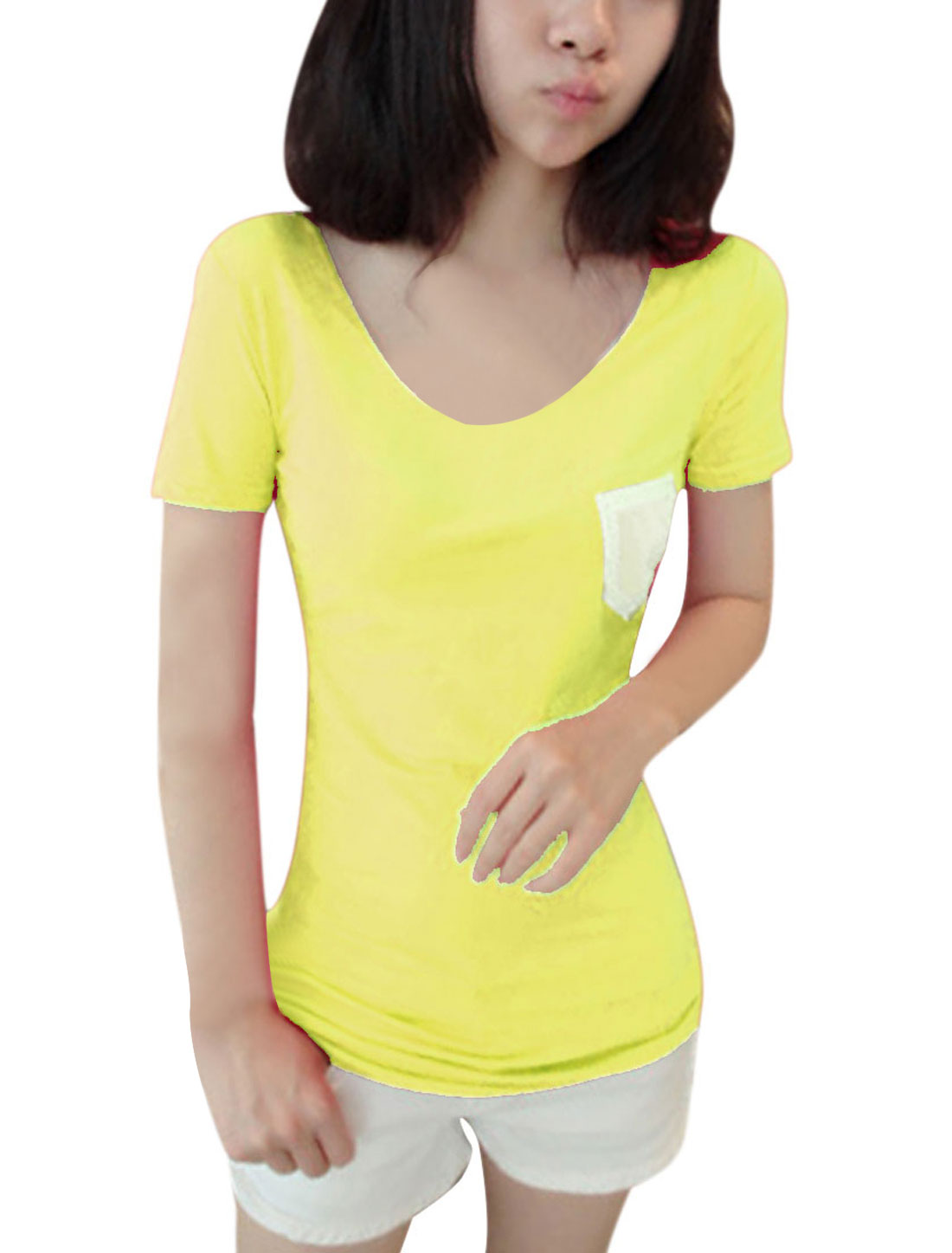 Lady Yellow Panel Crochet Chest Pocket Summer Tee Shirt XS