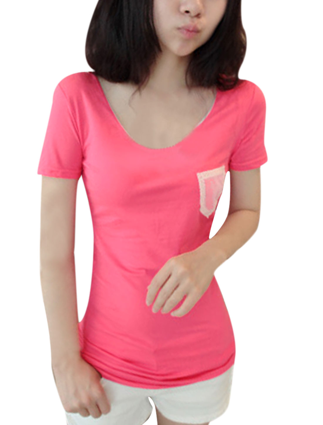 Lady Deep Pink Short Sleeve Round Neck Chest Pocket Tee Shirt XS