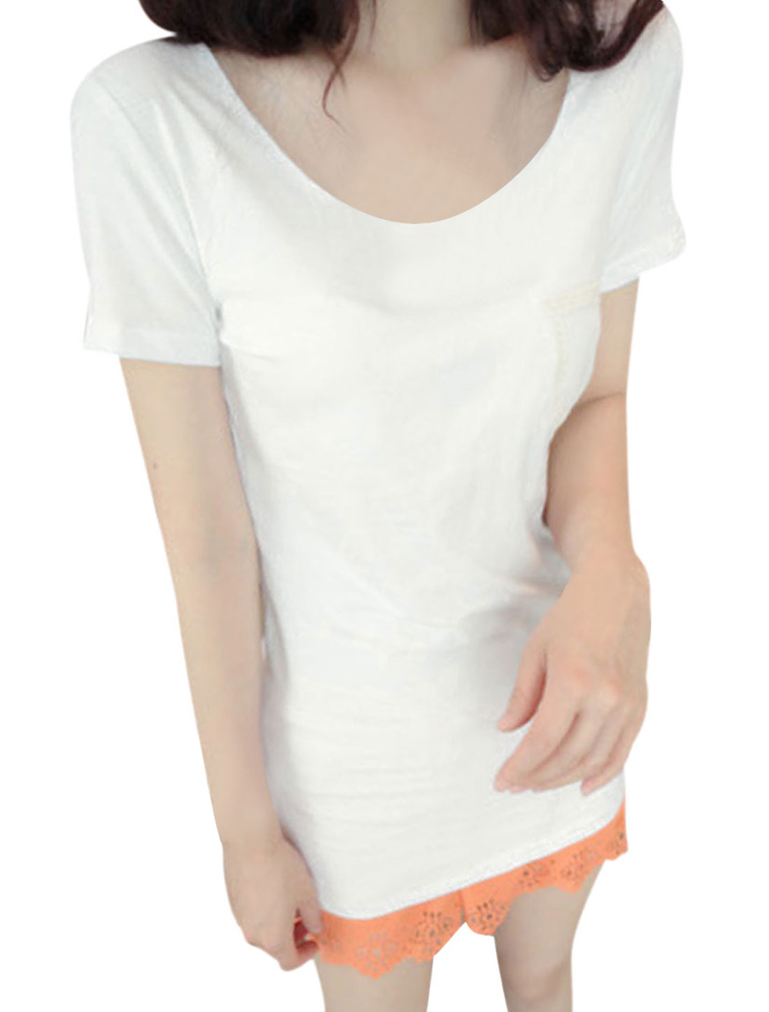 Lady White Round Neck Short Sleeve Casual Tee Shirt XS