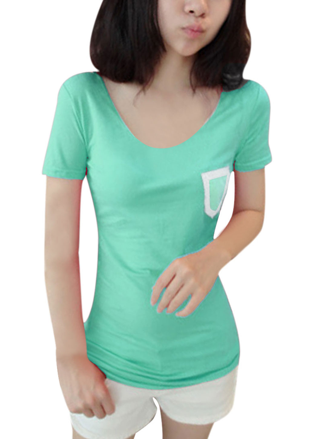 Lady Green Crochet Round Neck Short Sleeve Chest Pocket Tee Shirt XS