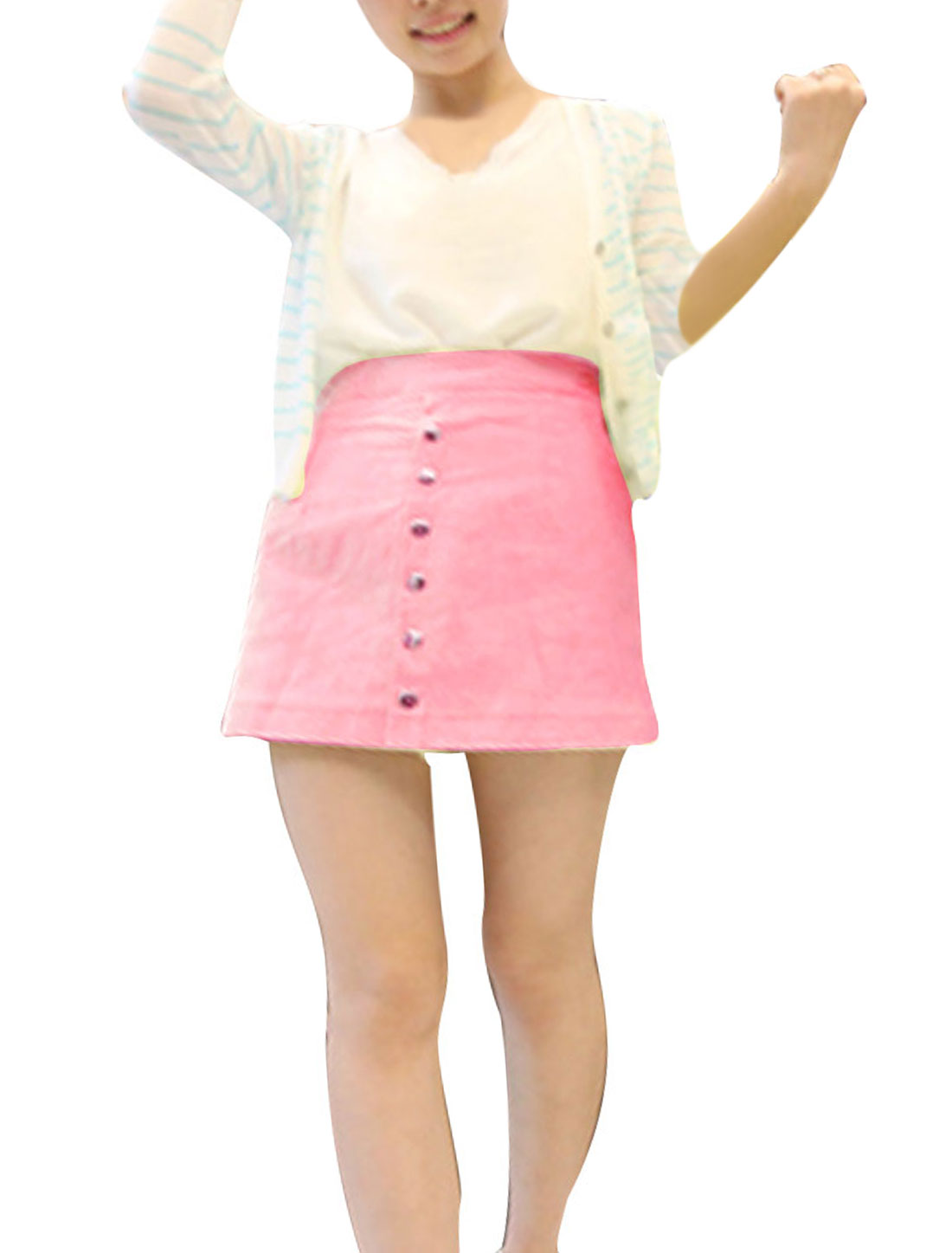 Woman High Waist Concealed Zipper Side Divided Skirt Pink XS
