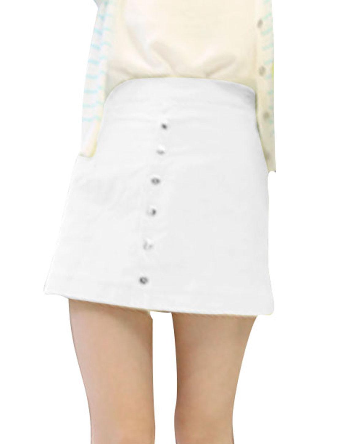 Women High Waist Zipper Side Button Front Decor Mini Skort White XS