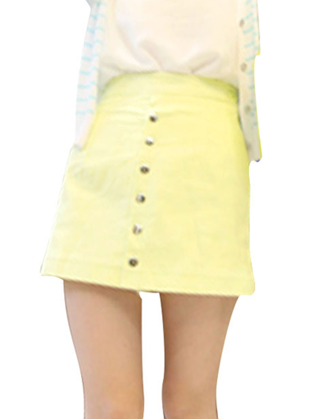 Ladies Concealed Side Zipper Closure Design Yellow Short Skort XS