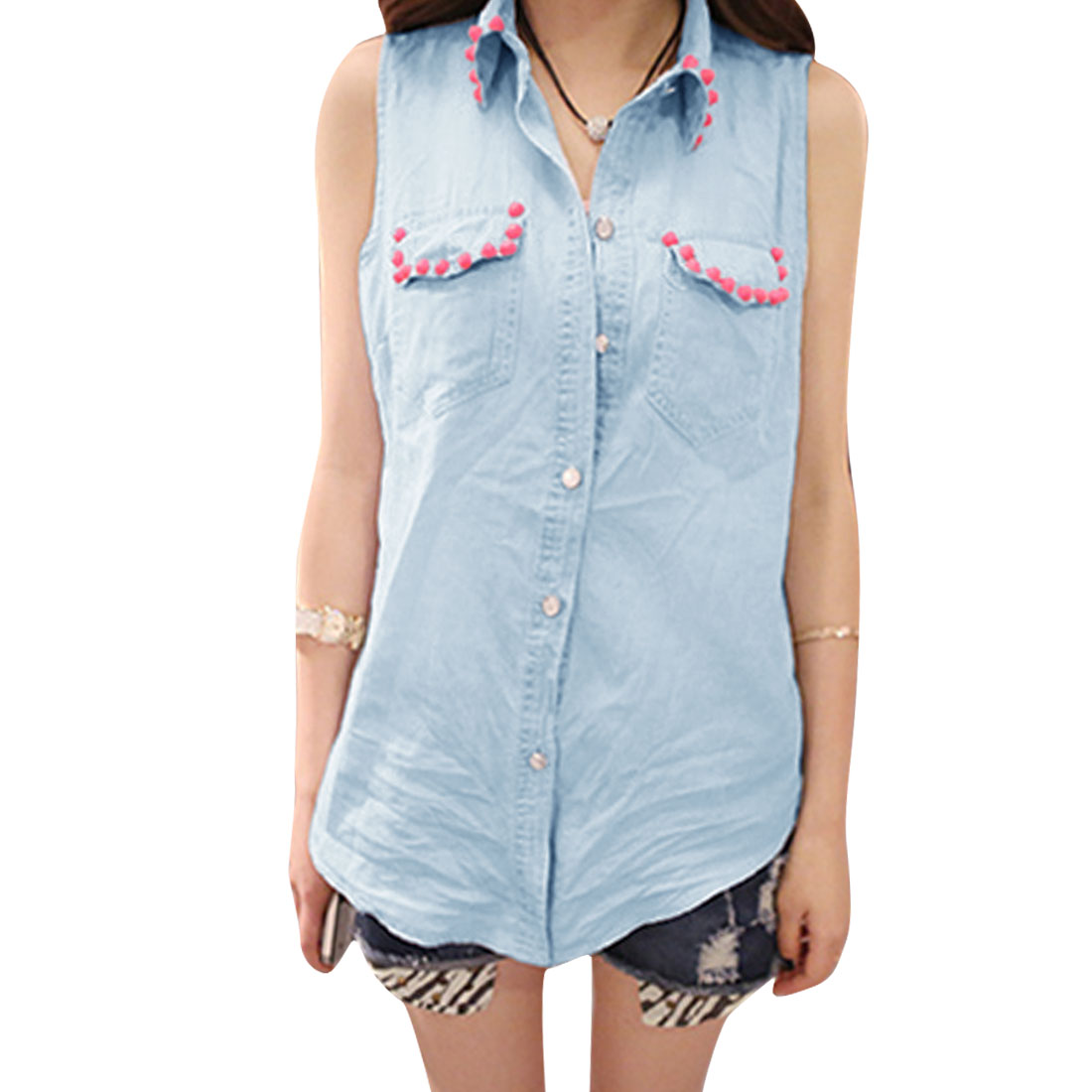 Ladies Sleeveless Design Point Collar Button Front Blouse Shirt Light Blue S