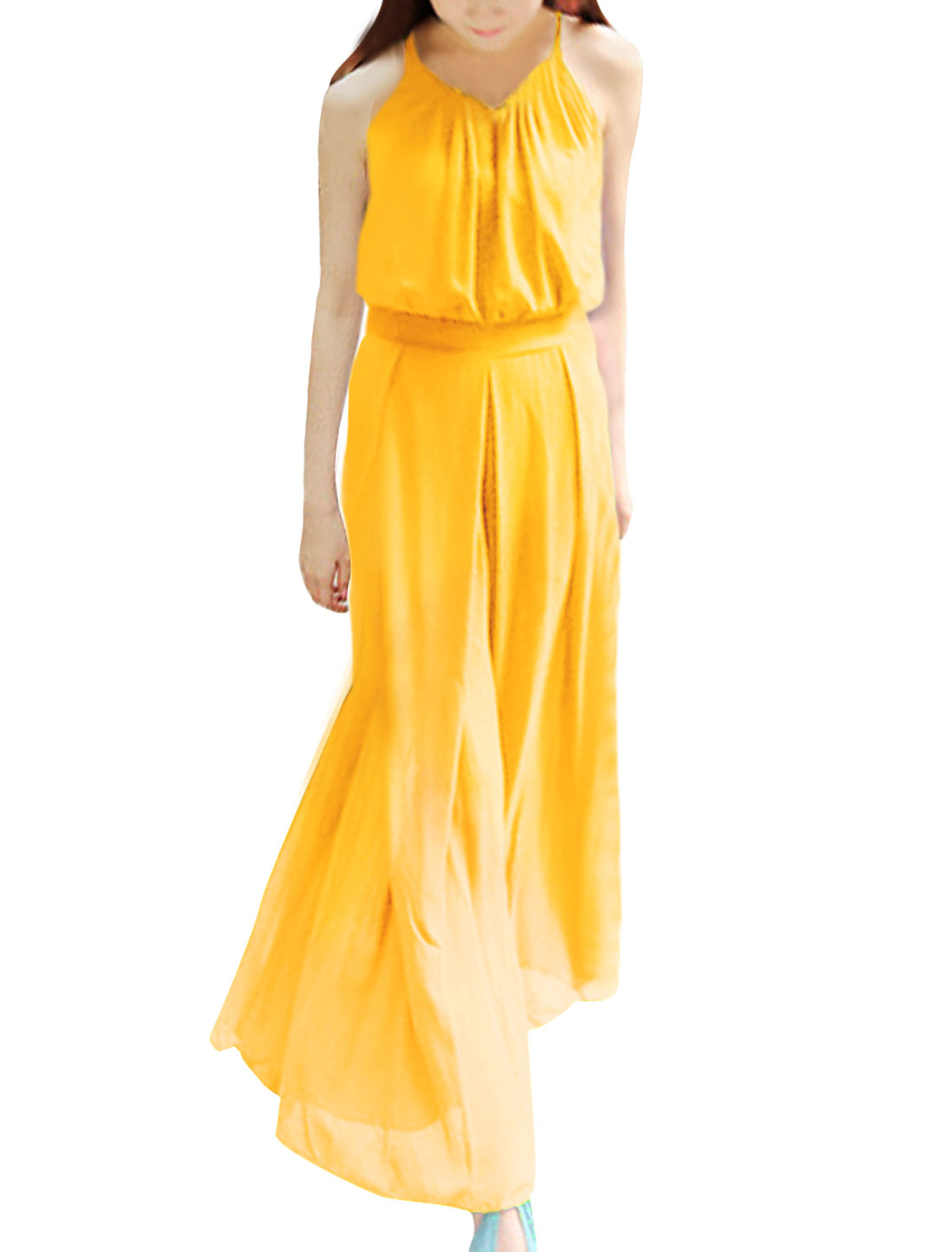 Woman Newly Pure Yellow Spaghetti Straps Casual Wide-Leg Jumpsuit S