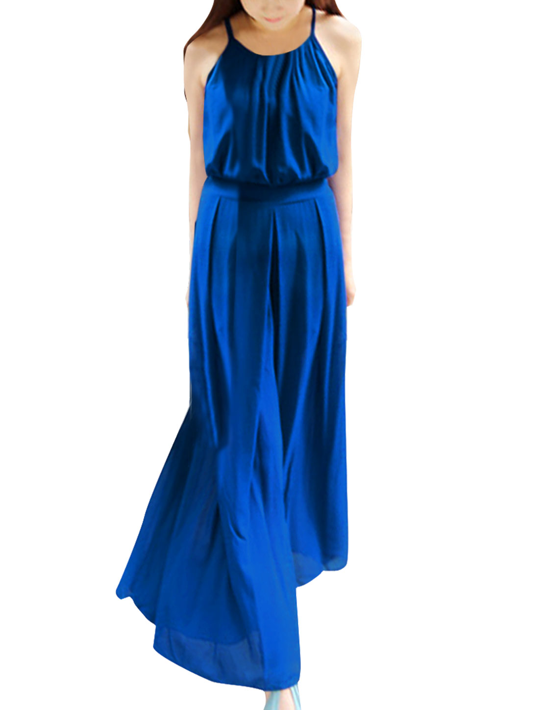 Ladies Spaghetti Straps Sleeveless Solid Color Royalblue Wide-Leg Jumpsuit S