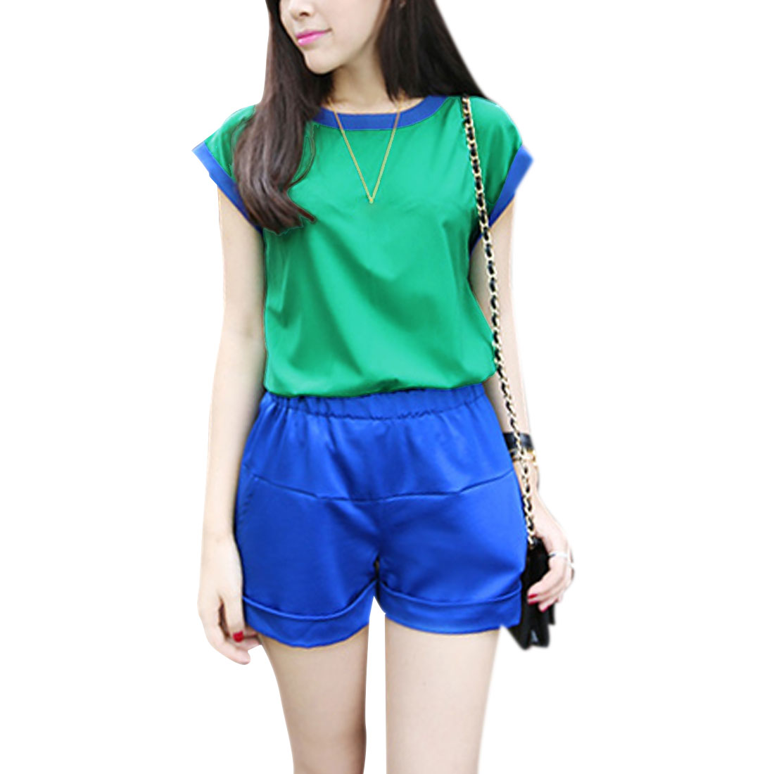 Ladies Round Neck Color Block Dolman Sleeve Design Casual Blouse Green M
