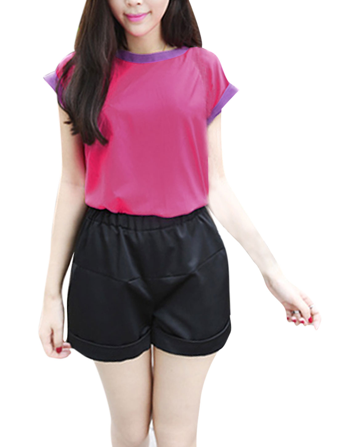 Women Style Round Neck Dolman Sleeve Semi Sheer Blouse M Fuchsia