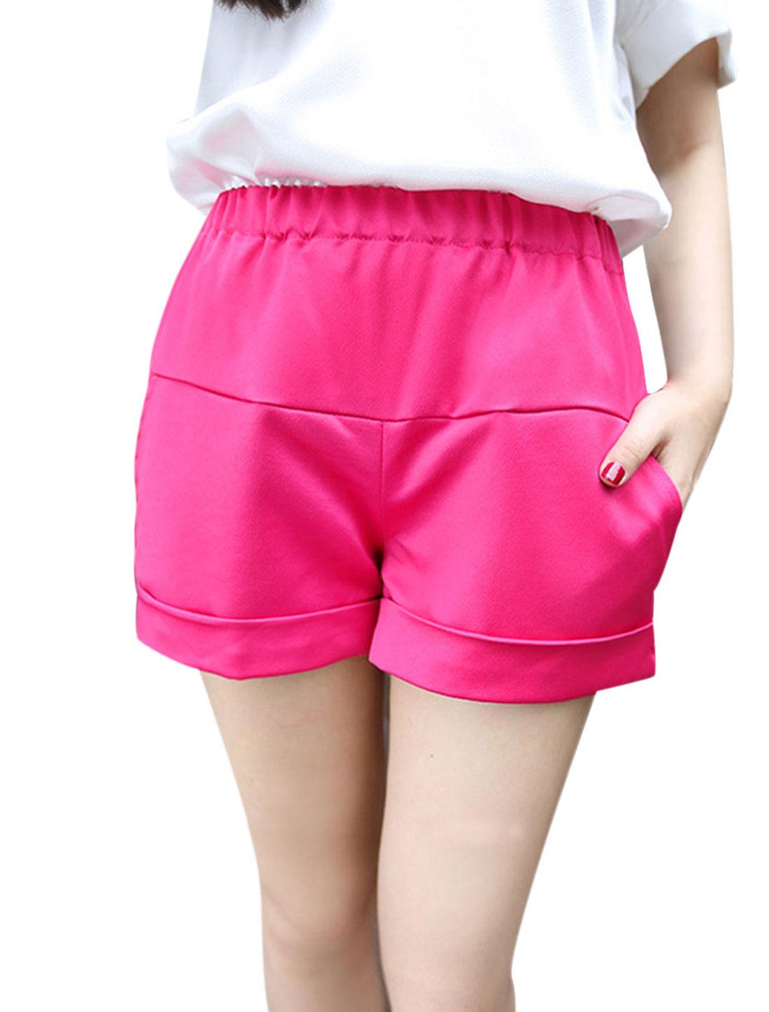 Women's Elastic Waist Design Front Two Slant Pockets Mini Shorts Fuchsia S