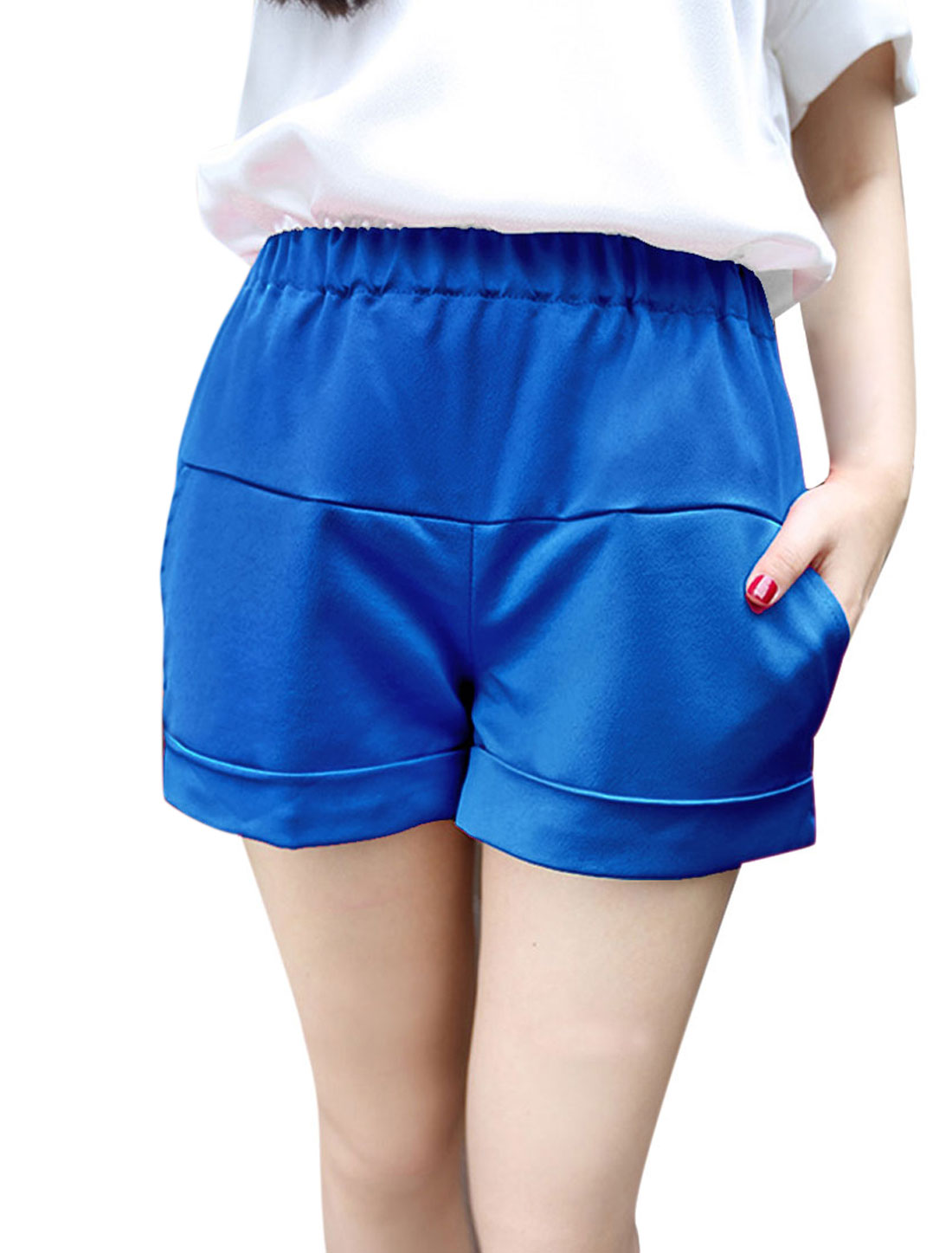 S Blue Stretchy Waist Round Hem Stylish Solid Color Women Fashion Shorts