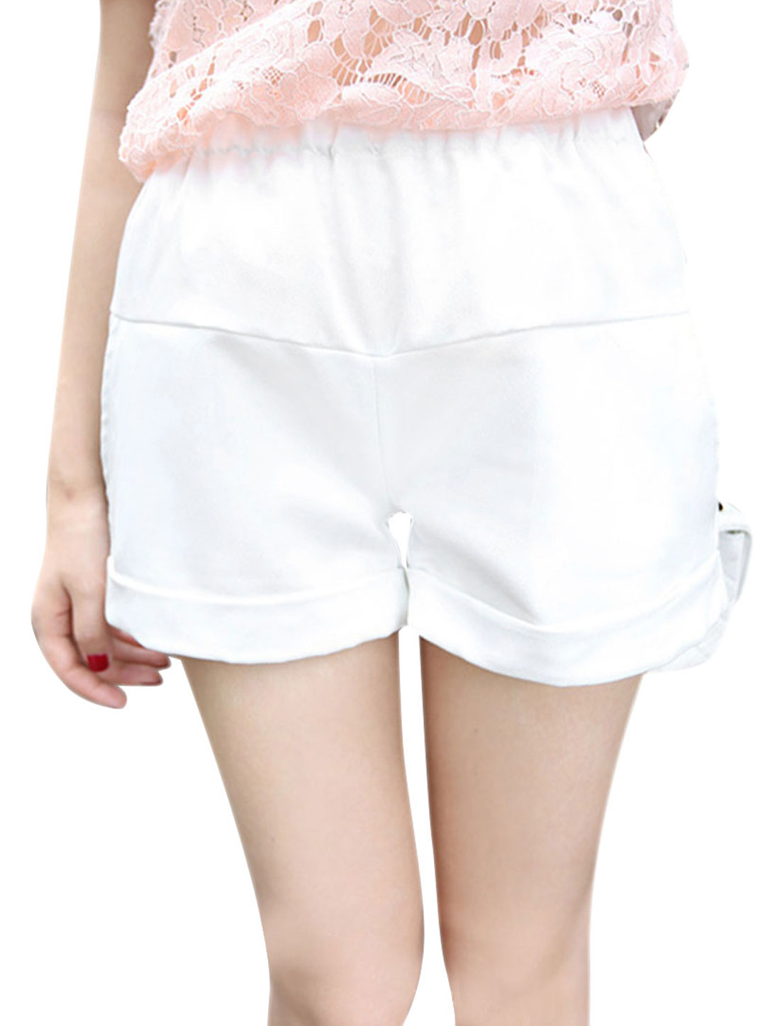 Ladies Stretchy Waist Slant Pockets Solid Color Casual Shorts S White
