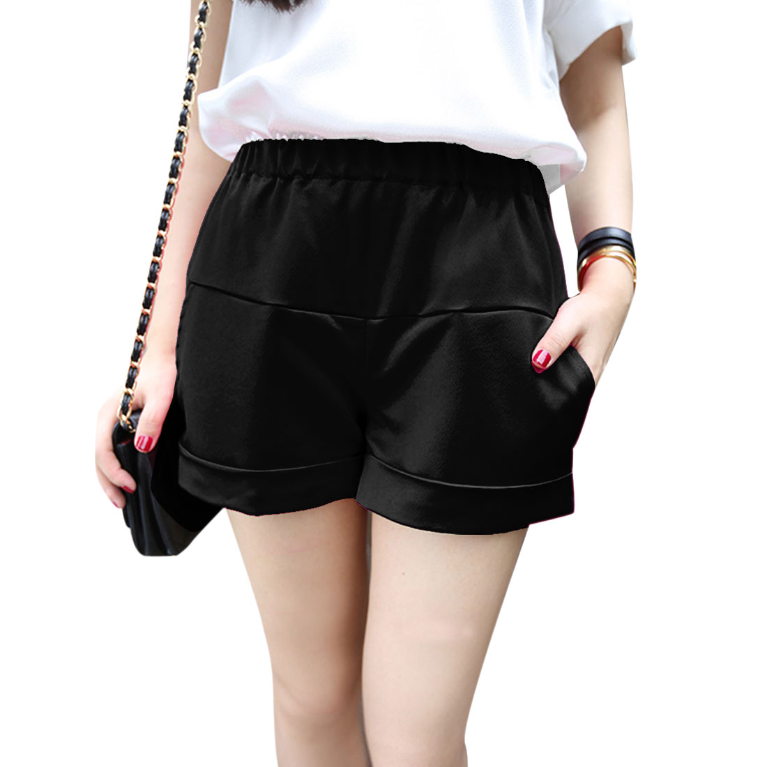 Women's Front Two Slant Pockets Semi Sheer Design Stylish Shorts Black S