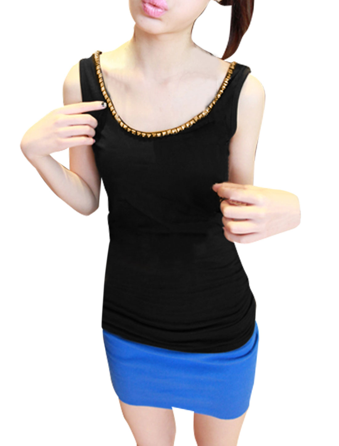 Stylish Ladies U Neck Pullover Ruched Detail Tank Top Black XS