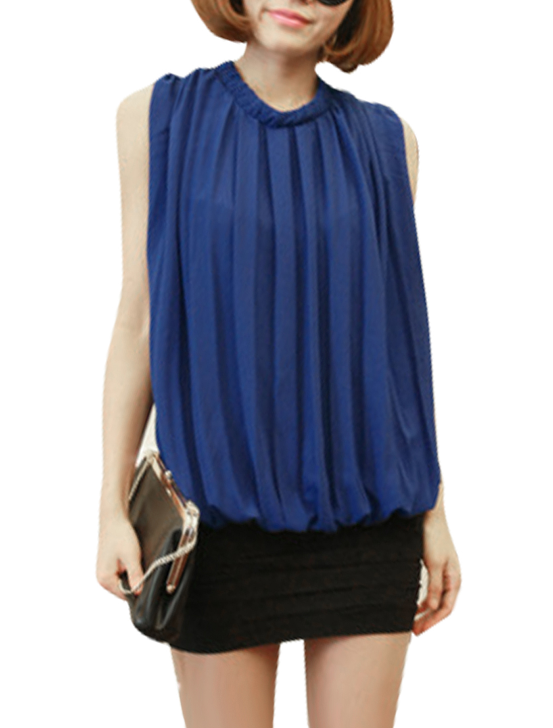 Ladies Pullover Sleeveless Lining Blouse Royal Blue XS
