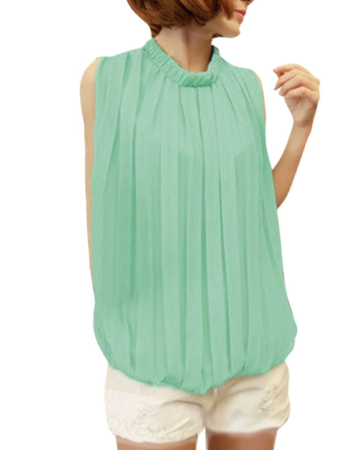 NEWS Ladies Round Neck Pullover Sleeveless Blouse Mint XS