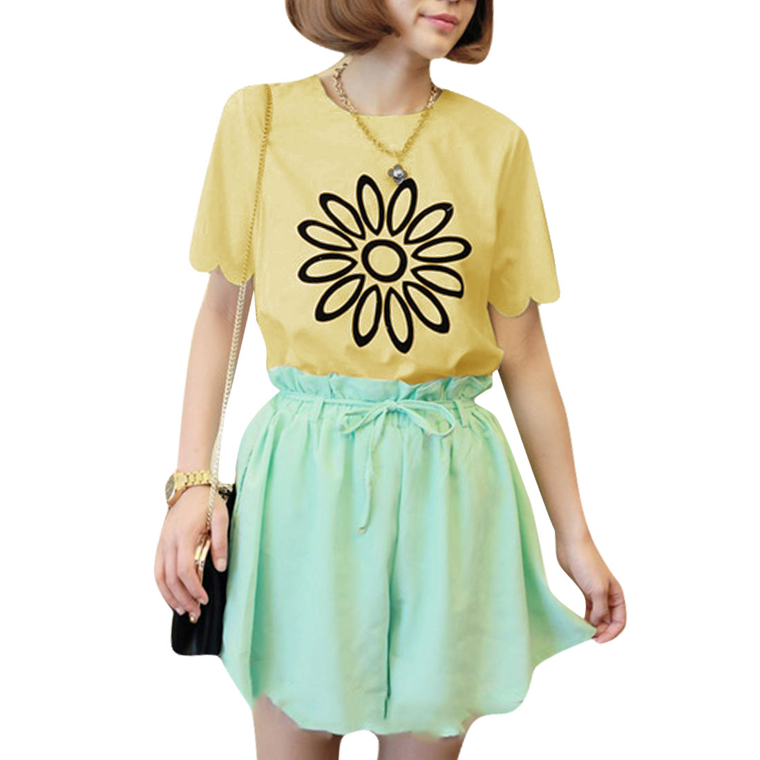 Yellow XS Two Tone Floral Print Short Sleeve Blouse Shirt for Ladies