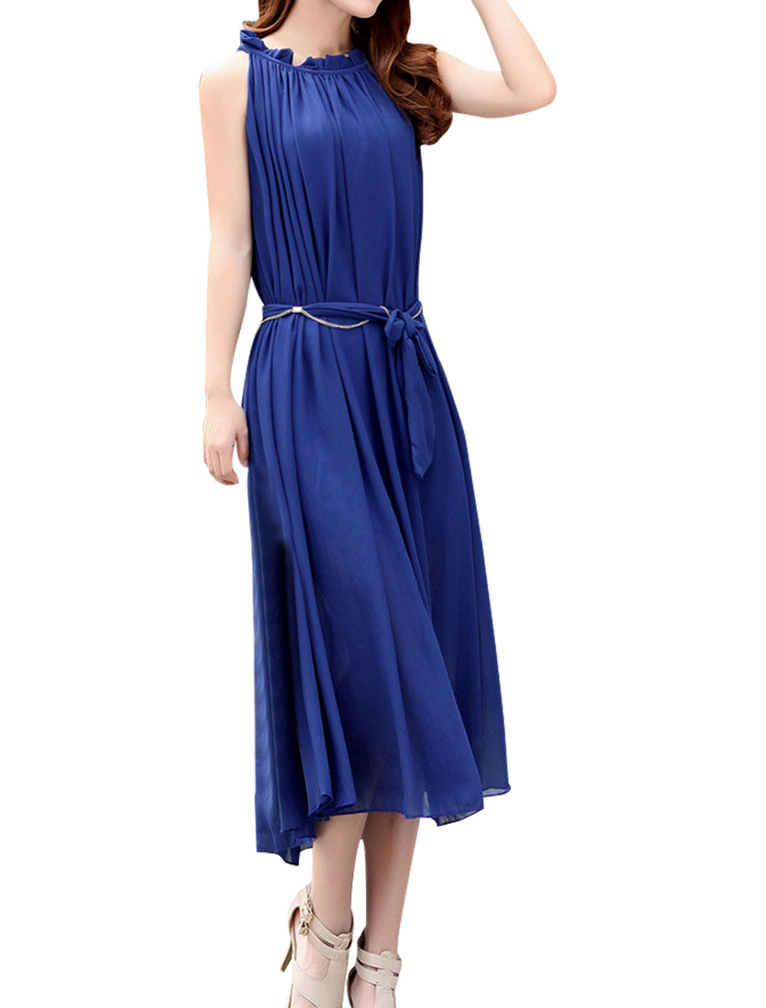 Ladies Boat Neck Pullover Sleeveless Dress Royal Blue w Waist Strap M
