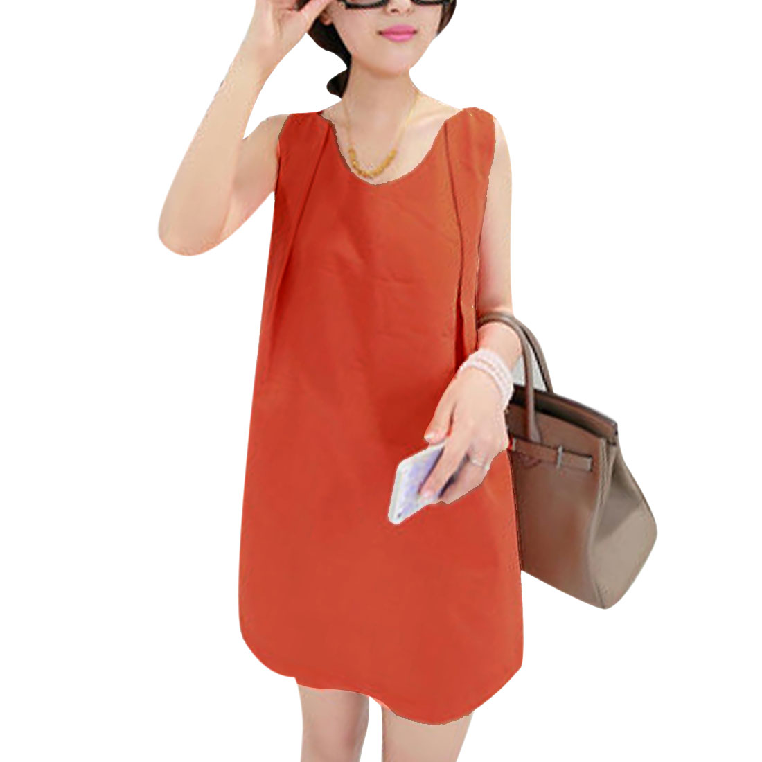 Lady V Neck Chiffon Ruched Detail Lining Dress Dark Orange XS