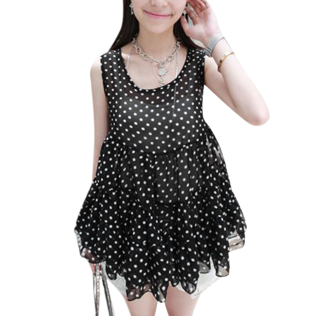 Lady Black Dots Prints Sleeveless Round Neck Tiered Split Top S