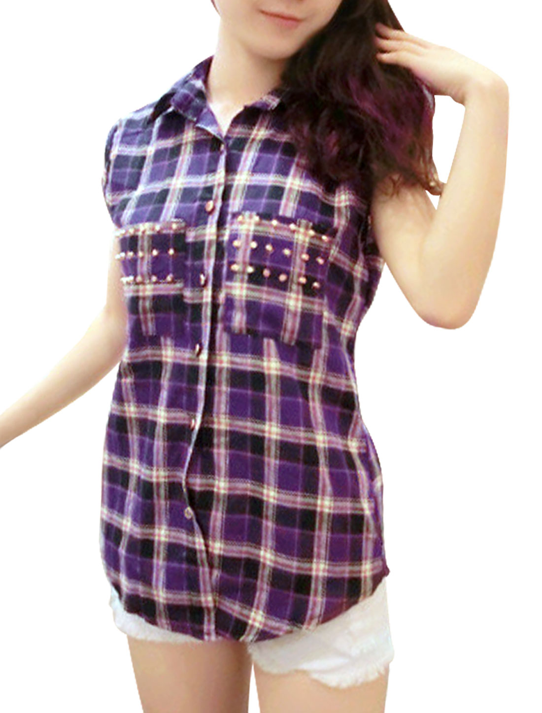 Purple S Sleeveless Rivet Embellished Breast Pockets Women Casual Blouse